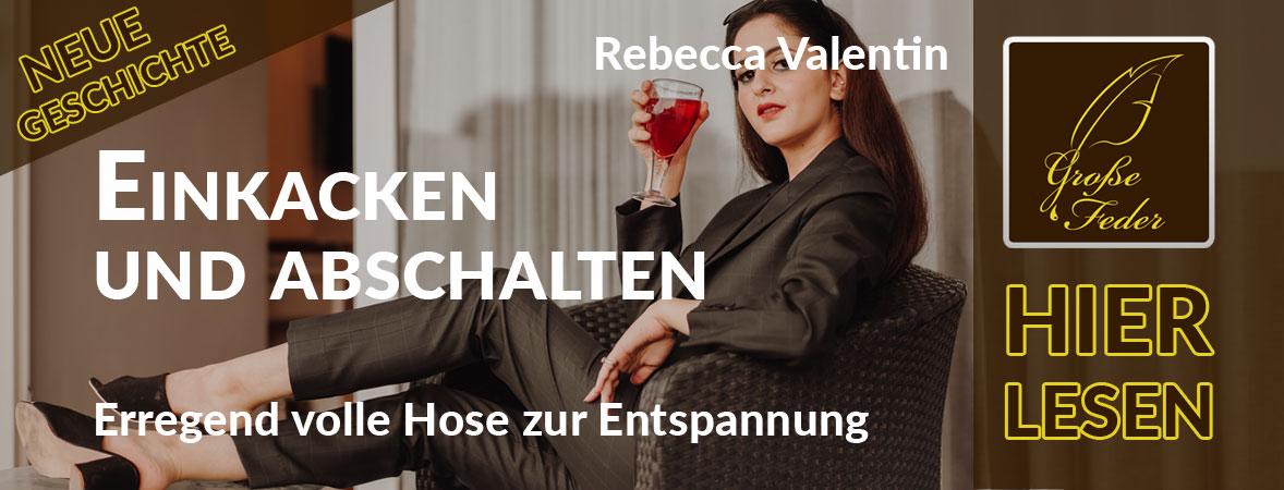 """Symbolbild zu """"Einkacken und abschalten"""": Junge Frau lehnt sich mit Cocktail in der Hand in einem Sessel zurück."""