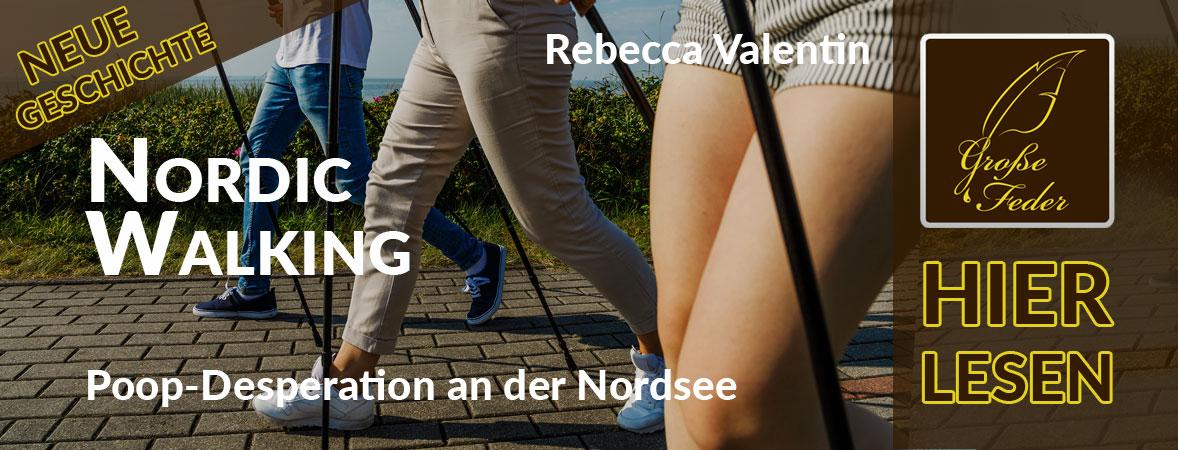 """Symbolbild zu """"Nordic Walking"""": Frau versucht beim Laufsport einzuhalten."""