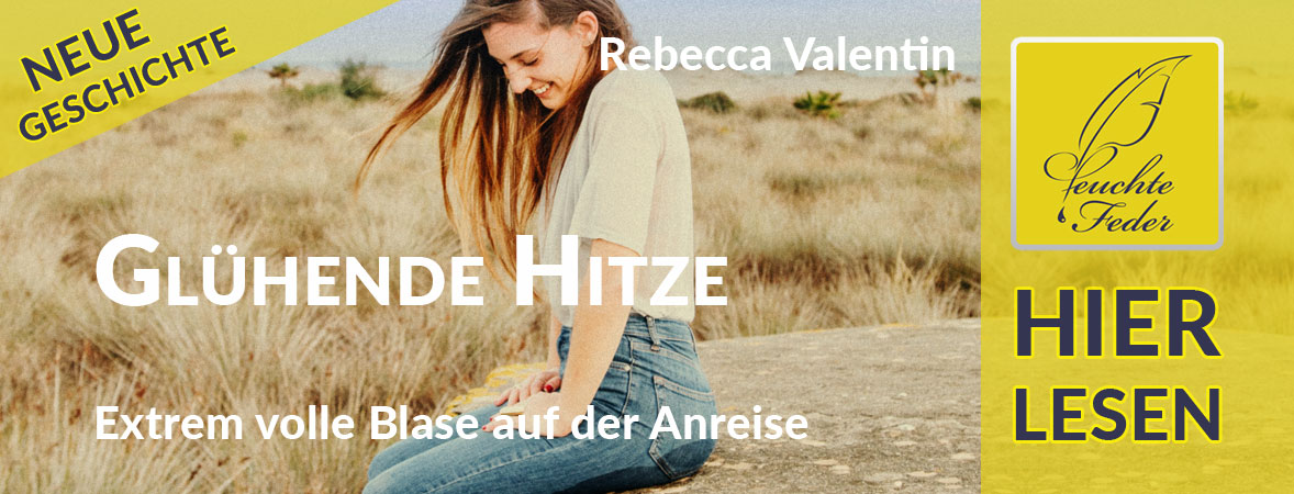 """Symbolbild zu """"Glühende Hitze"""": Junge Frau sitzt in nasser Jeans lachend auf einem großen Stein."""